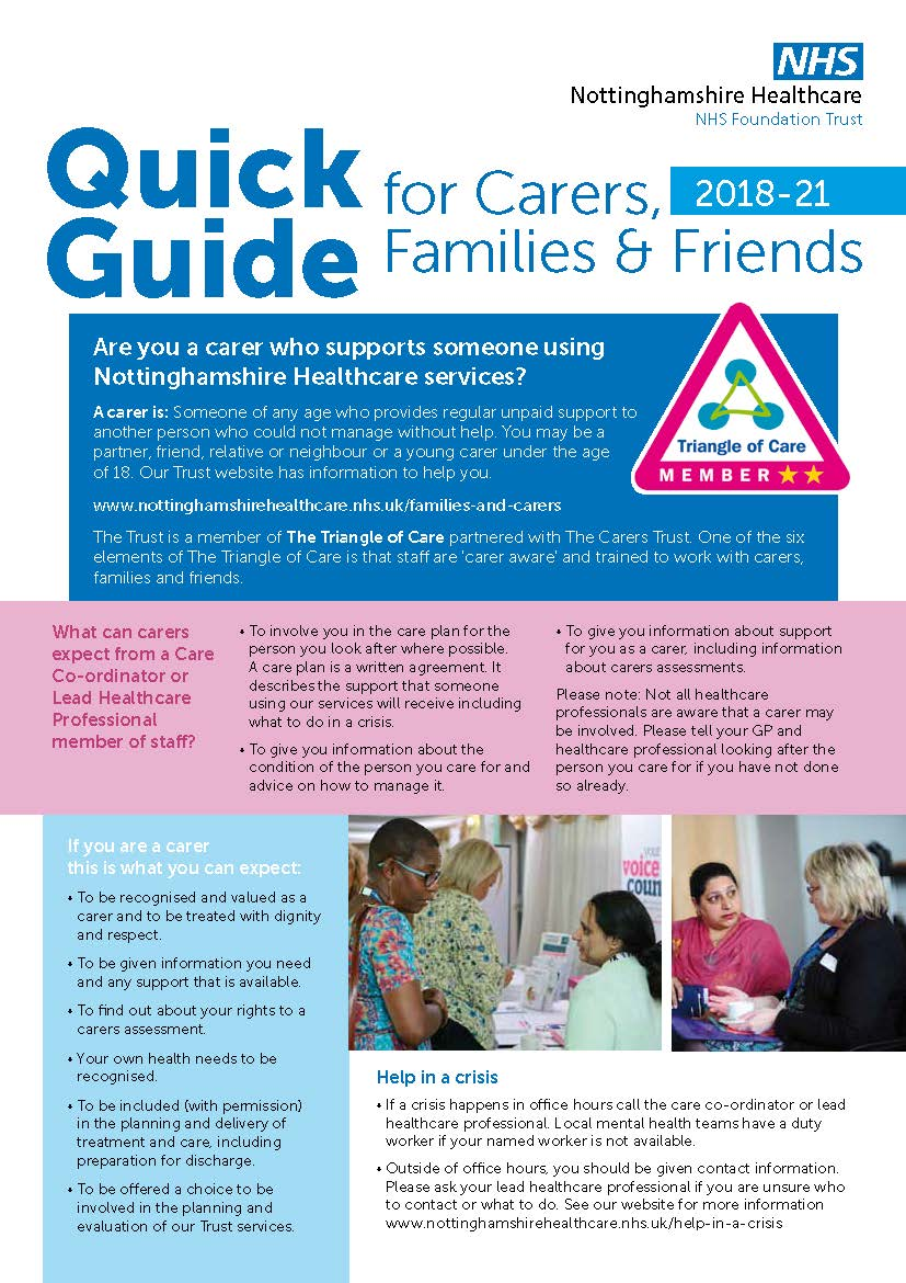 Front cover of Quick Guide for Carers, Families & Friends