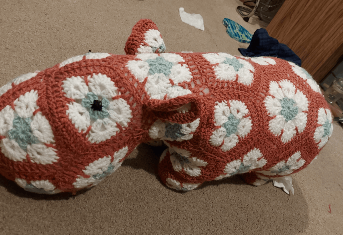 Crocheted hippo by Natasha Wall, Warsop Primary Care Centre