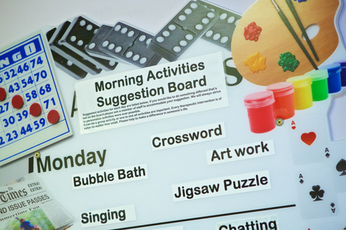 Acitivities suggestion board - bubble bath, crossword, art work, jigsaw puzzle