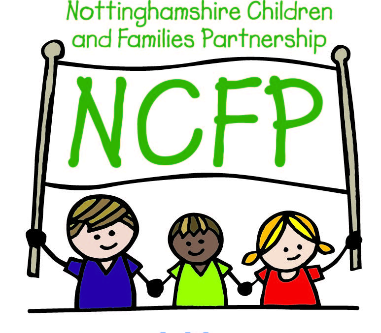 Nottinghamshire Children and Families Partnership logo. Three children holding a partnership banner.