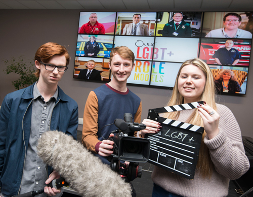 Students involved in making the films