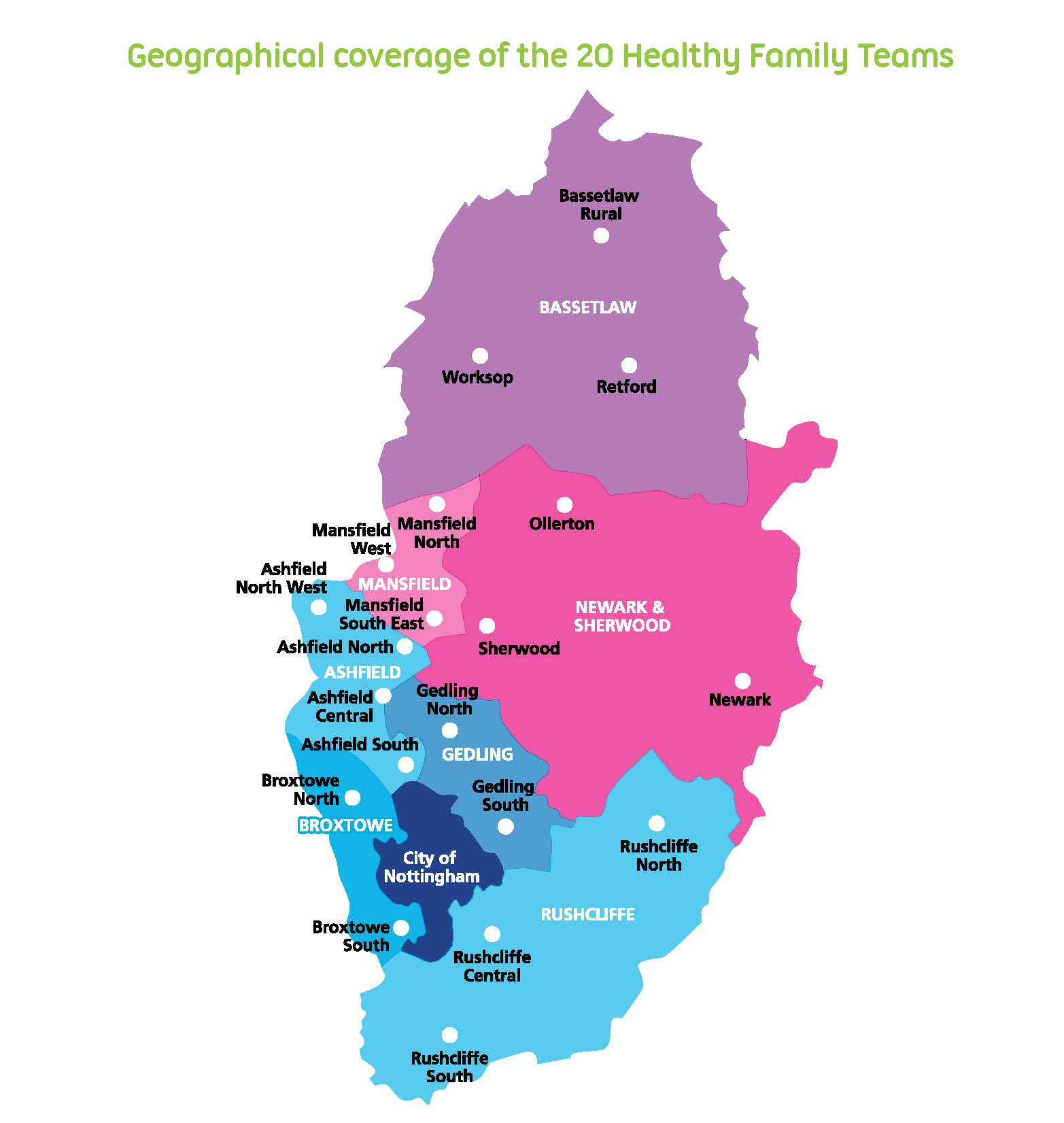 Map of the 20 Healthy Family Teams