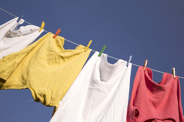 Clothes hanging on a washing line