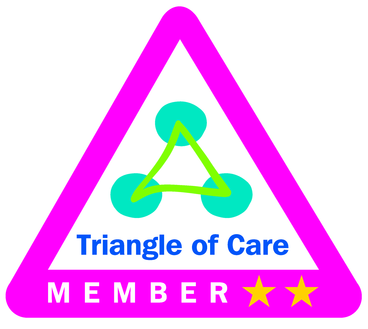 The Triangle of Care kite mark with two stars