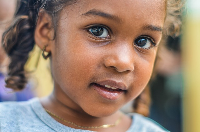 Young girl looking at the camera